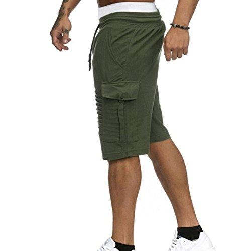 Pantalone Cotone Tasca Palestra Coulisse Corti Felpa E Jogging Byste Outdoor In Per Spiaggia Cargo Uomo Sport Di Pantaloncini Da Estate shorts Verde Fitness Con Bermuda d5X1avan