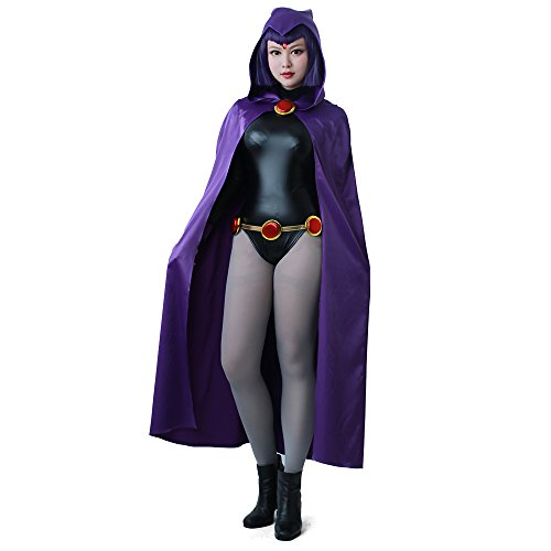 Miccostumes Women's Raven Purple Cloak Black Jumpsuit Cosplay Costume (3X/4X)