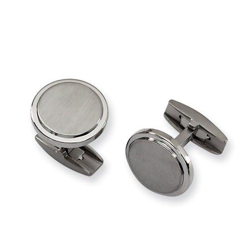 Men's Titanium Brushed and Polished Round Ridge Edge Cuff Links, 19mm - Edge Round Cufflinks