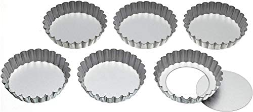 Kitchencraft Aluminium Fluted Tartlet Tins With Loose Bases 10 Cm
