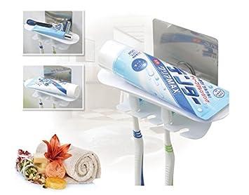 FOURCHEN|Conjunto de soporte de cepillo de dientes reutilizable Fácilmente soporte de cabeza de cepillo de dientes eléctrico montado en la pared+ganchos de ...