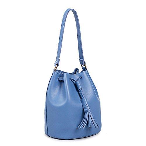 Yiliay Koreanisch Stil Mode Quaste Umhängetasche PU Leder Schultertasche Handtasche-Rosa