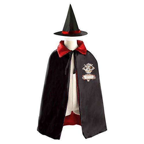 69PF-1 Halloween Cape Matching Witch Hat Zombie Robot Wizard Cloak Masquerade Cosplay Custume Robe Kids/Boy/Girl Gift Red ()