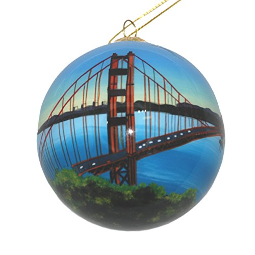 - Hand Painted Glass Christmas Ornament - Golden Gate Bridge San Francisco, California