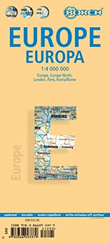 Laminated Europe Map by Borch (English Edition) (Europe Chart)
