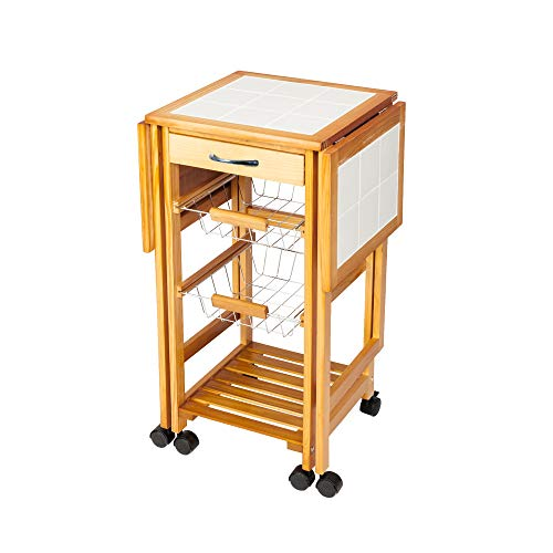happyday04 Portable Kitchen Island/Rolling Drop-Leaf Kitchen Trolley with Wine Rack on Wheels White Tile Top Folding Trolley Table with 1 Wood Drawer & 2 Steel Baskets