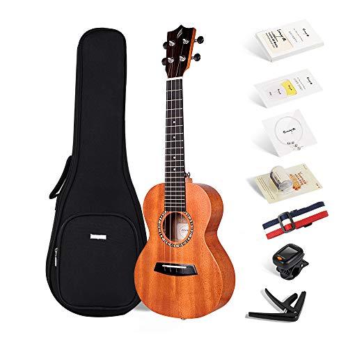 Enya Concert Ukulele 23 Inch Mahogany Beginner Ukulele – With Starter Kit includes Online Lessons, Padded Case, Extra…