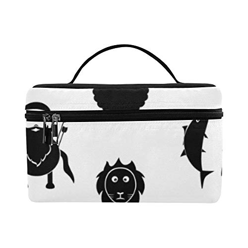 Twelve Constellations Special Style Large Capacity Size Lady Cosmetic Bag Makeup Organizer Lunch Box Tote Holder Case Cooler For Girl Women Travel Picnic