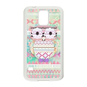 JFLIFE Cute Tribal Owl Phone Case for samsung galaxy s5 White Shell Phone [Pattern-3]