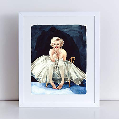 Marilyn Monroe Giclee Art Print Watercolor Painting Wall Home Decor Norma Jean Baker Old Hollywood Glamour Fashion Illustration Classic Movie Star Vintage Film Studio Poster Canvas ()