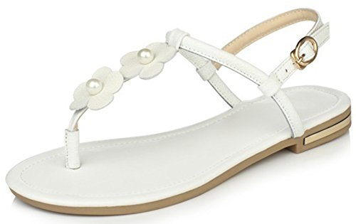 IDIFU Women's Sweet Flowers Flat Thong Sandals Slingback Open Toe Buckle Boho (Flower Slingback)