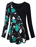 VALOLIA Lightweight Floral Tops, Pullover Sweatshirt Color Block Activewear Boho Chic Style Fashion Blouse T Shirt Black Green Flower XL