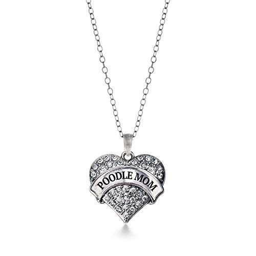 - Inspired Silver - Poodle Mom Charm Necklace for Women - Silver Pave Heart Charm 18 Inch Necklace with Cubic Zirconia Jewelry
