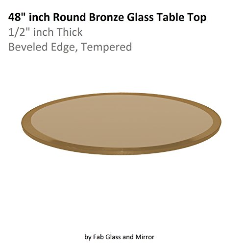 Fab Glass and Mirror Glass Table Top 48'' Round 1/2'' Thick Beveled Tempered, Bronze by Fab Glass and Mirror