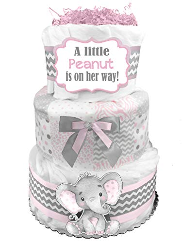 Elephant 3-Tier Diaper Cake - Baby Shower Gift - Pink and Gray -