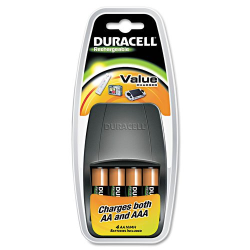 Duracell Value Charger 4 Rechargeable AA NiMH Batteries