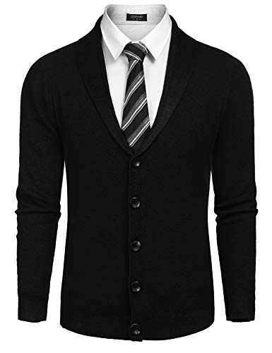 COOFANDY Men's Long Sleeve Shawl Collar Cardigan Sweater Slim Fit Casual Button Down Knitted Cardigan Overcoat by COOFANDY (Image #1)