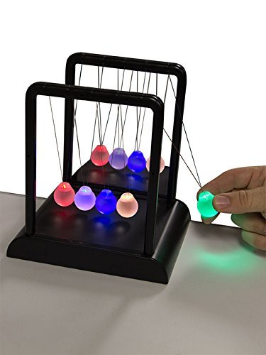 Think Stores Newton's Multi-Color Light Up Cradle with LED Glass Balls and Mirror for Desktops]()