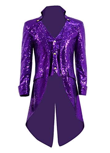 Very Last Shop Mens Gothic Tailcoat Jacket Black Steampunk Victorian Long Coat Halloween Costume (US Men-L, Purple(Sequin))
