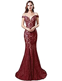 Womens Long Tulle Strapless Ball Gown Lace Formal Evening Dresses