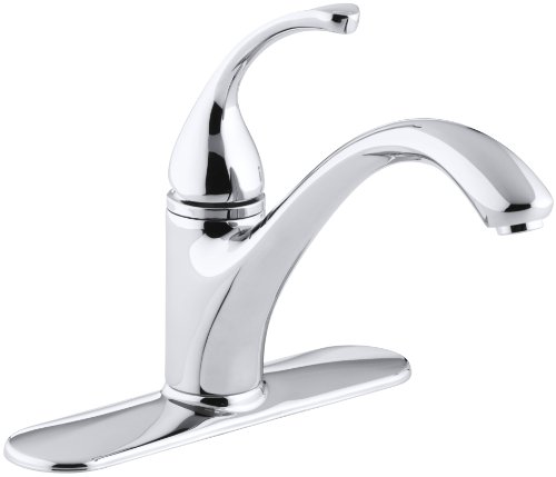 Cp Polished Chrome Escutcheon - KOHLER K-10411-CP Forte Single Control Kitchen Sink Faucet with Escutcheon and Lever Handle, Polished Chrome