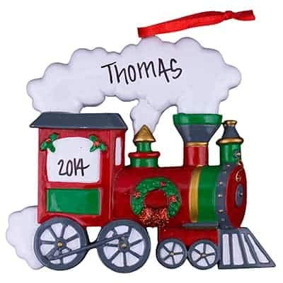 Train Personalized Ornament - (Unique Christmas Tree Ornament - Classic Decor for A Holiday Party - Custom Decorations for Family Kids Baby Military Sports Or Pets)