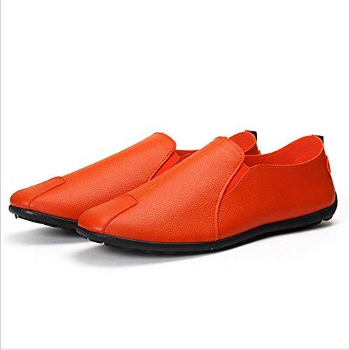 Casual traspirante arancione on mocassino suola Colore Moda Scarpe uomo morbida Slip 39 Nero Fuxitoggo Dimensione EU bianco nero Arancia xz0q7wt