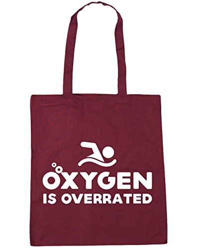 HippoWarehouse Oxygen is overrated Tote Shopping Gym Beach Bag 42cm x38cm, 10 litres Burgundy