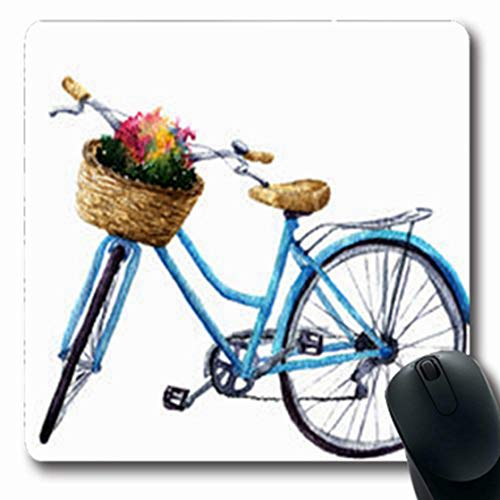 (ArtsDecor Mousepads Ride Watercolor Bicycle Flowers Basket Summer Sports Recreation Wheel Active Bike Retro Blue White Oblong Shape 7.9 x 9.5 Inches Oblong Gaming Mouse Pad Non-Slip Mouse Mat)