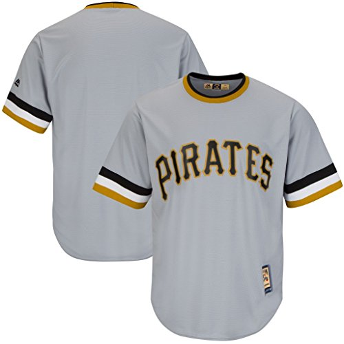 VF Pittsburgh Pirates MLB Mens Majestic Cool Base Cooperstown Jersey Gray Big & Tall Sizes (4XT) (Jersey Cooperstown Majestic Collection)