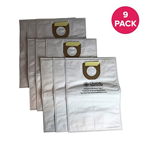 Crucial Vacuum Replacement Vac Bags - Compatible With Hoover Part # 4010100Y, 4010801Y, 43655082 - Hoover Type Y Cloth Bags Fit Windtunnel Upright Vacs - Use Bag, Filter For Home (9 Pack) (Hoover Vacuum Bags 4010801y)