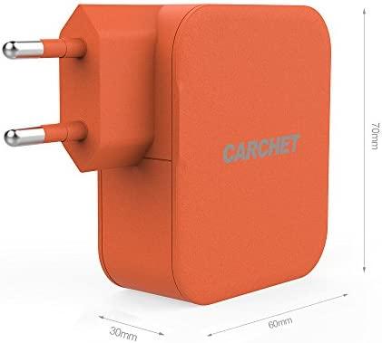 CARCHET Cargador Portátil de Pared 4 Puertos USB Inteligente Enchufe Europeo 6.2A 31W para Cargador iPhone 6 plus, 6, 5, 5S, 4S, iPad, Móvil, Tablet, ...