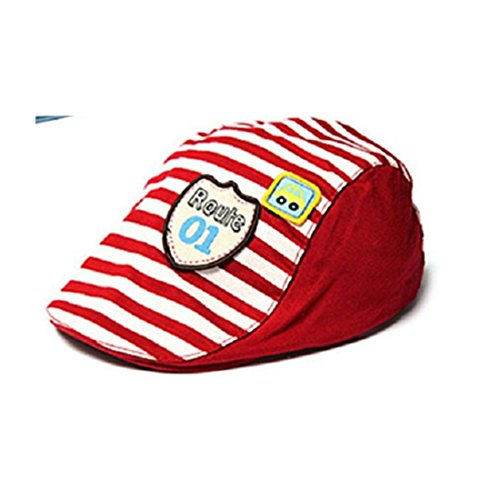Voberry Baby Boy Kids Toddler Stripes Beret Cabbie Flat Peaked Hat (red)