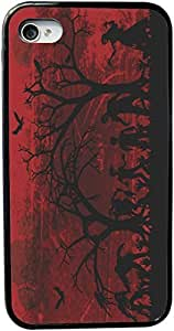 Rikki KnightTM Silhouette Zombies on Skull Grunge Background Design iPhone 5 & 5s Case Cover (Black Rubber with bumper protection) for Apple iPhone 5 & 5s