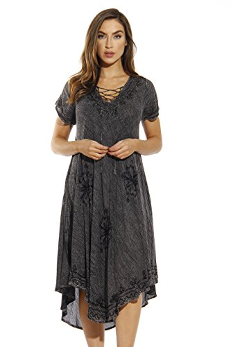 Riviera Sun 21726-CHARC-2X Dress/Dresses for Women Charcoal -