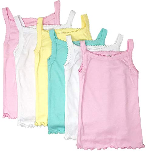 I&S Girl's 4 Pack Soft Cotton Cami Spaghetti Strap Tank Tops Undershirts (5, Pastel Colors(4 Pack))