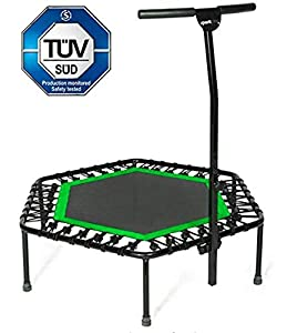 Sportplus Silent Fitness Mini Trampoline with Adjustable Handrail Handle Bar – Indoor Rebounder for Adults – Best Urban Cardio Workout Home Trainer, Covered Bungee Rope System – Max Limit 286 lbs
