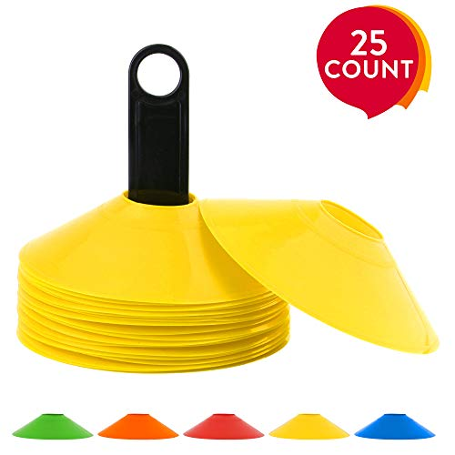 REEHUT Disc Cones (Set of 25), Sport Agility Soccer Cones for Training, Football, Kids, Sports, Field Cone Markers with Free User E-Book - Yellow ()