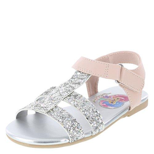 Nickelodeon Shimmer and Shine Silver Girls' Toddler Glitter Sandal 5 Regular ()
