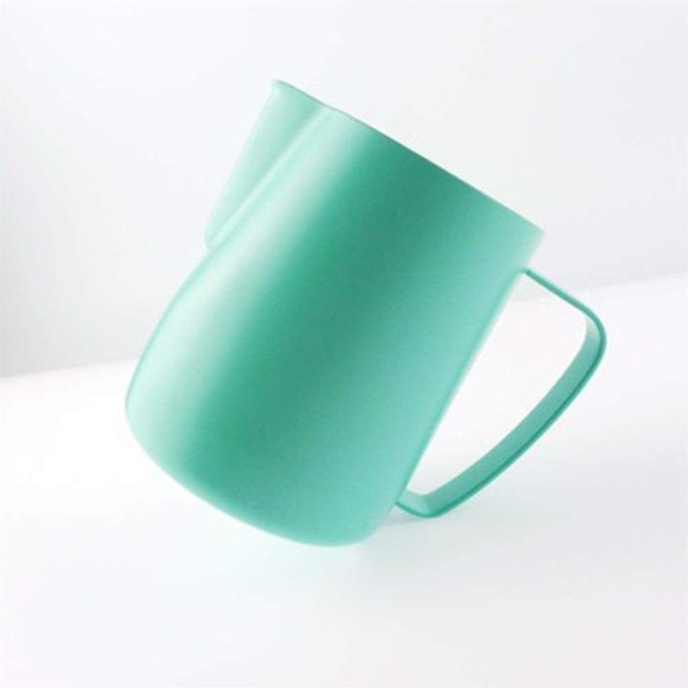 XIAOLAOBIAO Milk Jug 0.3-0.6L Stainless Steel Frothing Pitcher Coffee Milk Frother Japanese-Style Pull Flower Cup Milk Foam Tool (Color : 600mlMint Green, Size : M) by XIAOLAOBIAO