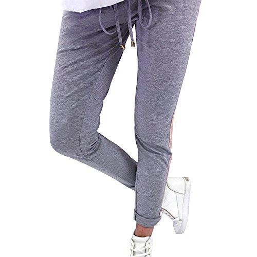Clearance Sale! Women Pants,Farjing Women Striped Elastic Waist Casual Sportswear Thin Long Pencil Pants Trousers(XL,Gray)