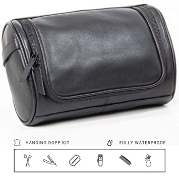 9d205e280c2d Amazon.com   Mens Toiletry bag Large Hanging Dopp Kit Groomsmen Gift Leak  proof Travel Toiletry Shaving Bag Black   Beauty