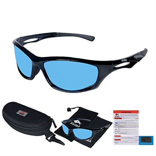 AVIMA BEST Unisex Polarized Tr90 Unbreakable Frame Sports Sunglasses for Running Baseball Cycling Fishing Volleyball Driving Skiing Golf Traveling (Black/Black With REVO Blue - Costco Sunglasses Polarized