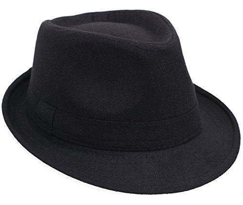 Mens Gangster Hats (Men / Women's Classic Short Brim Gangster Manhattan Trilby Fedora Hat, Black)