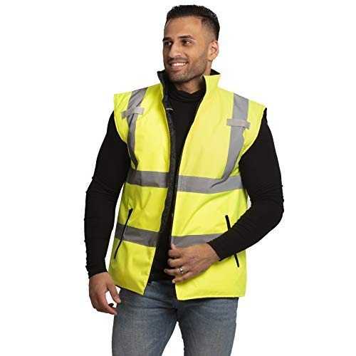 - JORESTECH High Visibility Reversible Insulated Safety Vest with ANSI Compliant Reflective Tape Bodywarmer (2 Extra Large)