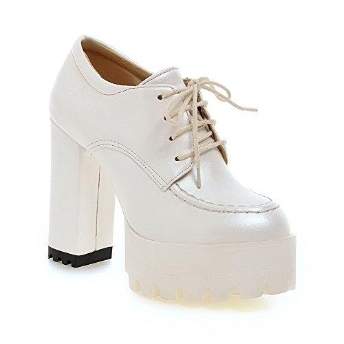 Weenfashion Morbido Chiusa Lacci Donne Solidi Pompe Rotonda Bianco Alto Materiale Punta calzature talloni HqxdYYE4