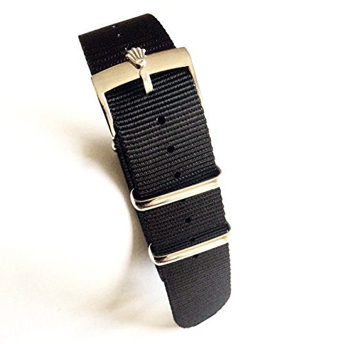 20mm Nato Nylon Replacement Watch Strap Band Black with Polish Rolex Buckle Fit Rolex Diver Submariner GMT II