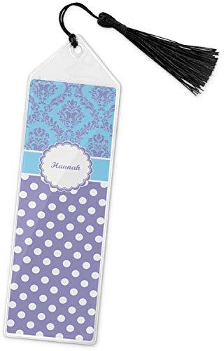 Purple Damask & Dots Book Mark w/Tassel (Personalized) (Damask Bookmarks Design)