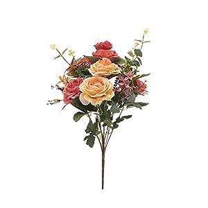 品牌名 Rose DIY 6 PCS Head Flowers Artificial Flowers Wedding Bride Bouquet PE Foam DIY Party Festival Home Decor Garland Wreaths Flowers (Orange red + Yellow) 18