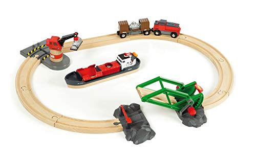 Wooden Cargo - BRIO World - 33061 Cargo Harbor Set | 16 Piece Toy Train with Accessories and Wooden Tracks for Kids Ages 3 and Up